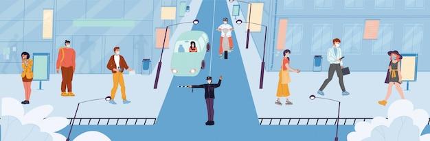 人々は都市の住人、警官、防護フェイスマスクで通りの歩道、交通道路に移動する輸送の運転手。