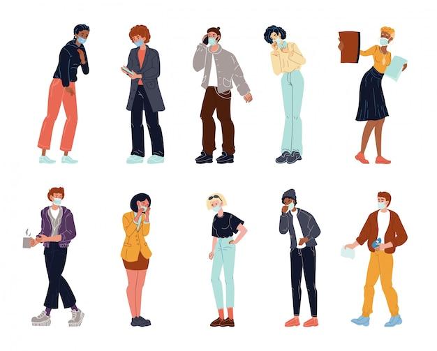 防護マスクセットを着ている人々のキャラクター