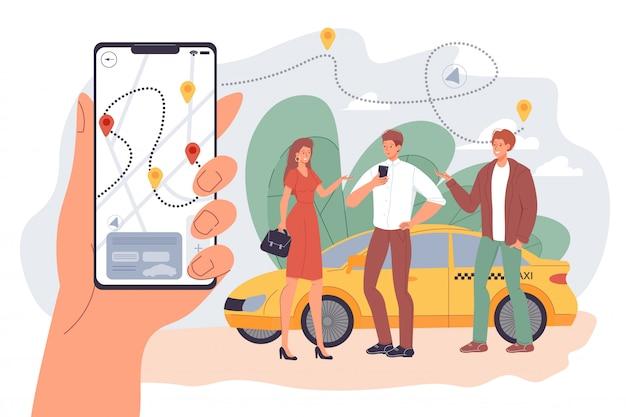 Люди арендуют такси с помощью мобильного приложения для обмена автомобилями