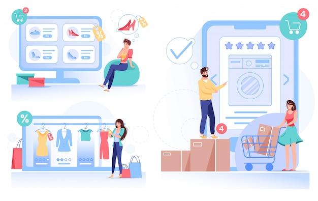 Люди, делающие покупки онлайн, заказывающие быструю доставку