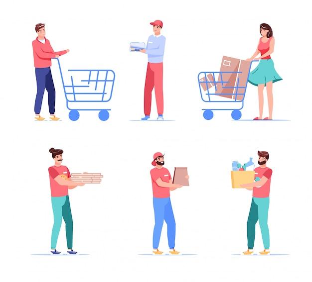 宅配便とクライアントは、人々のキャラクターセットを漫画します。買い物客のトロリーカート、小包、食品、食料品のパッケージを運ぶ配達員を押す男性女性客。ファーストフードの配達、持ち帰りサービス