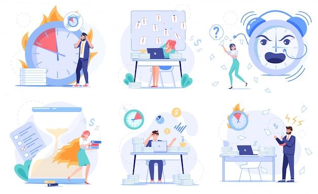 失敗または燃焼期限、先延ばし、非効率的な非効率的な時間管理。怠惰なマルチタスクの従業員、タスクの作業スケジュールを整理できないビジネスマン。ストレスの多いオフィスワークフローセット
