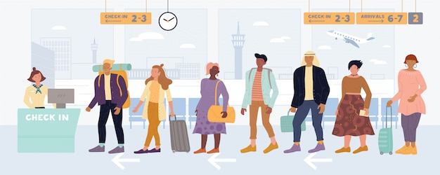Многорасовые мужчины, женщины стоят в очереди на регистрацию, вывозят багаж в международном аэропорту.