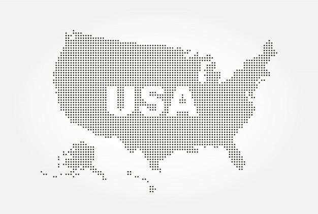 米国とテキストのドット付きスタイルマップ