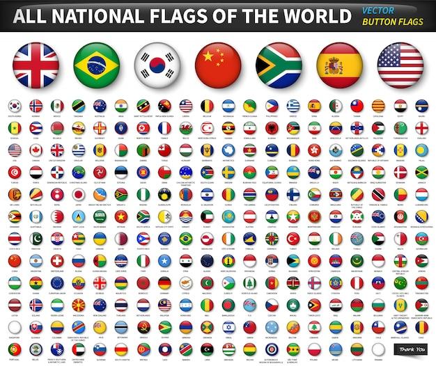 世界のすべての国旗。円の凸ボタンのデザイン。要素ベクトル
