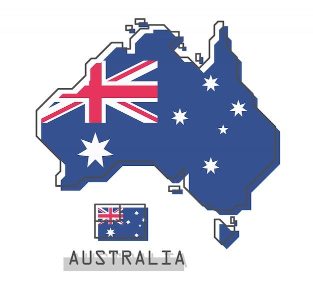 オーストラリアの地図とフラグ