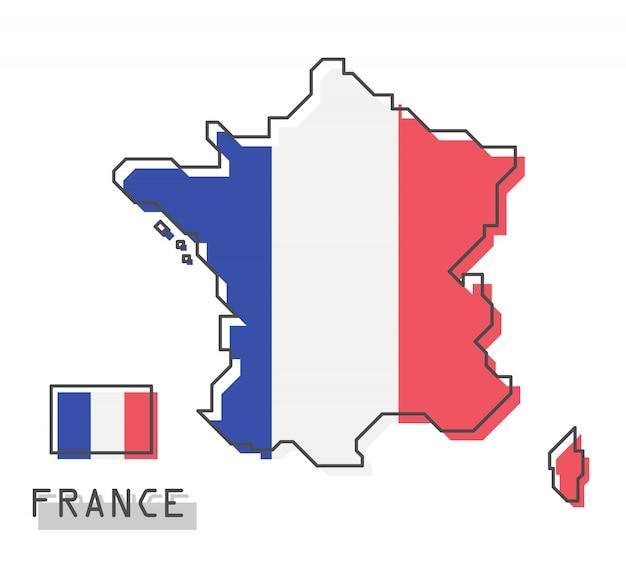 フランスの地図とフラグ