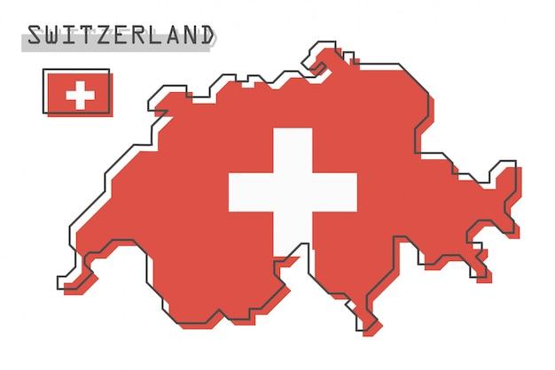 スイス連邦共和国の地図とフラグ
