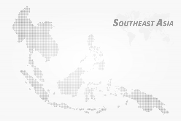 東南アジアの地図。ハイディテールドットデザイン