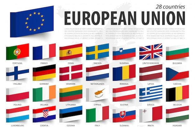 欧州連合の旗そしてメンバー。付箋デザイン。ヨーロッパの地図
