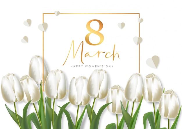 Женский день реалистичные белые тюльпаны набор иллюстрации