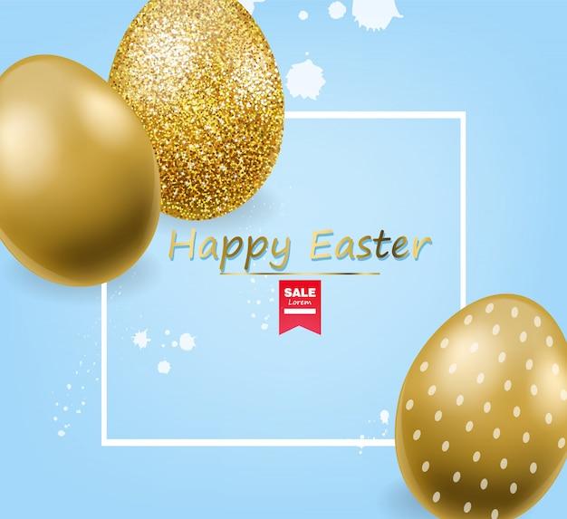ハッピーイースター、現実的な卵セット、金色キラキラ卵バナー、白い背景