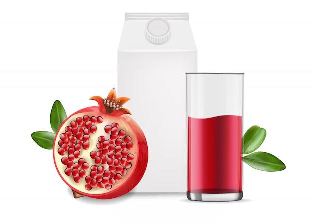 Реалистичный гранатовый сок, пакет на белом фоне, стеклянная и белая тара