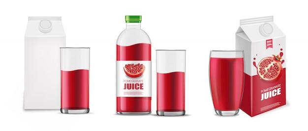 Гранатовый сок реалистичный набор, пакет белый фон