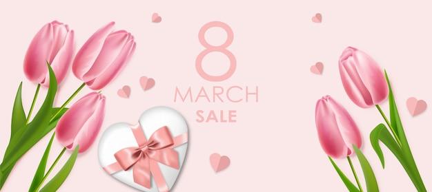 Реалистичные розовые тюльпаны и подарок женскому дню