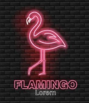 Фламинго неоновый, розовый фламинго, привет лето, неоновый розовый свет, кирпичный фон