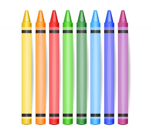 現実的なクレヨン分離セット、色鉛筆、学校に戻る