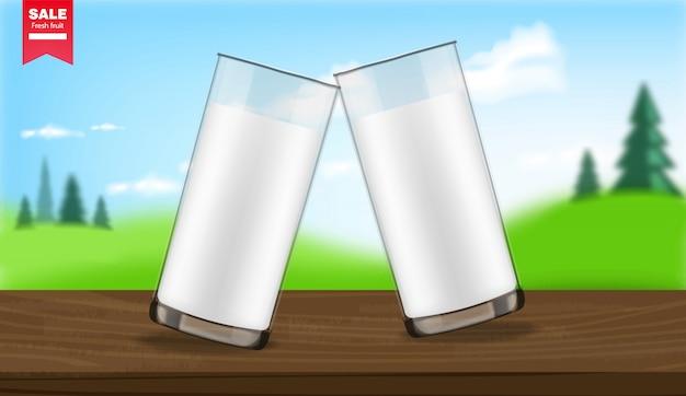 ミルクガラスの現実的な有機製品、パッケージのモックアップ、農産物、風景の背景イラスト