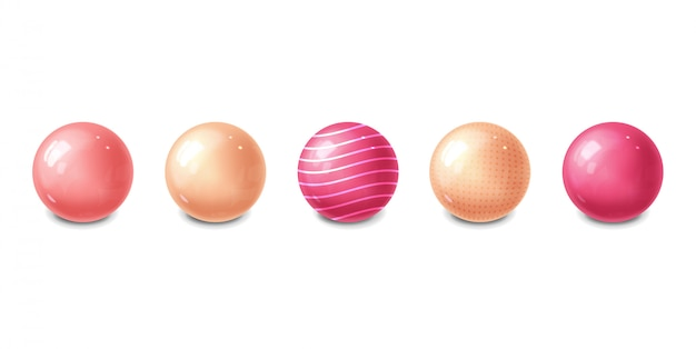現実的なピンクの球体デザイン、孤立したバブル
