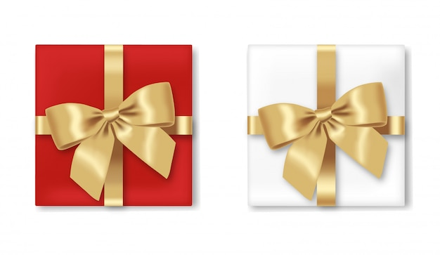クリスマスギフト、現実的なボックスと弓、孤立したリボン、ハッピーホリデー、メリークリスマス、ギフトセットホワイトバックグラウンドイラスト