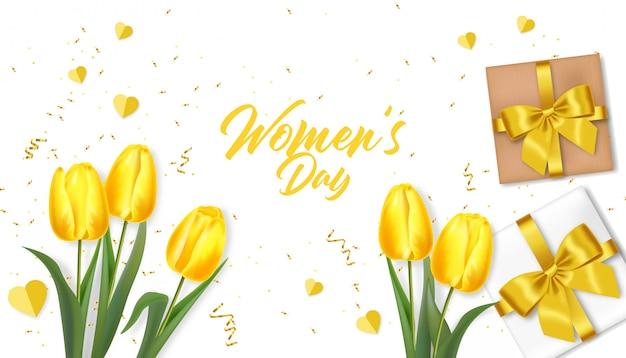 女性の日の挨拶。現実的な黄色のチューリップとギフトイラスト