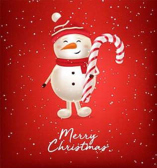 幸せな雪だるま、メリークリスマスと新年あけましておめでとうございます、雪片、現実的な雪だるまのキャラクター、冬と赤い背景