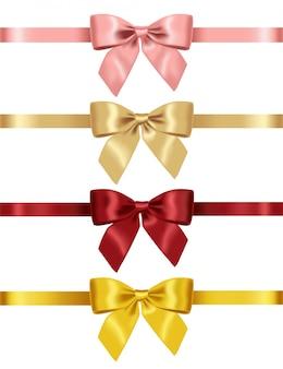 現実的な黄色、赤、ピンク、ゴールドの弓、大きなセットの弓、お祭りの装飾、パーティー要素分離した白い背景イラスト