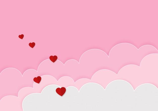 紙のハート幸せなバレンタインデーのお祝いの背景