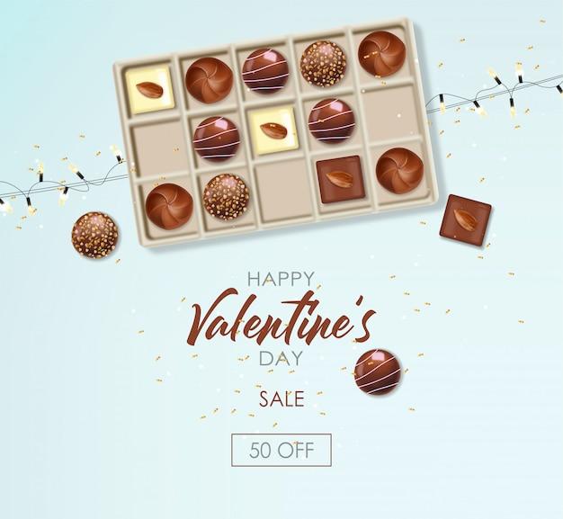 現実的なチョコレートセット、ギフト、キャンディー、ライト、おいしいデザート、バレンタインの日、愛、平面図チョコレートプラリネコレクション、黒と白のチョコレートバナー