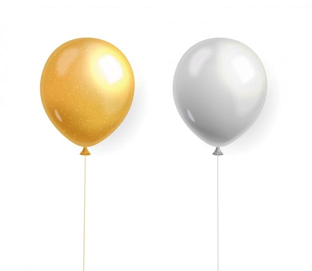 Реалистичные воздушные шары, золото и серебро на белом фоне