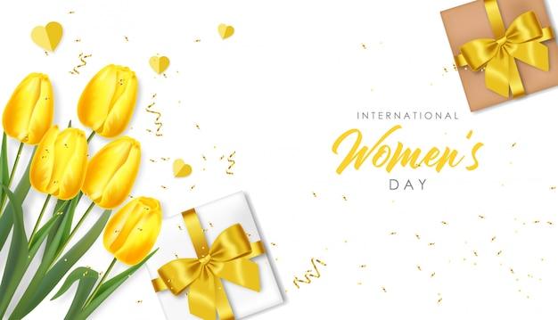 Женский день приветствие. реалистичные желтые тюльпаны и иллюстрация подарка