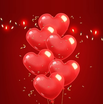Реалистичные воздушные шары сердца и золотого конфетти, красный, изолированных на красном фоне, любовь украшения, день святого валентина, романтические