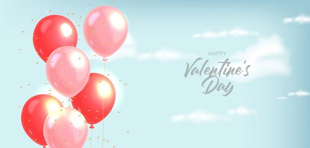 Реалистичные воздушные шары и золотое конфетти, синий фон, чистое небо, реалистичные облака любят украшения, день святого валентина, романтично