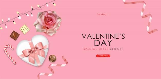 現実的なチョコレート、ローズ、ギフト、ピンクの紙吹雪、ライトバレンタインデー、パーティー、ピンクの背景、愛の概念、販売バナー