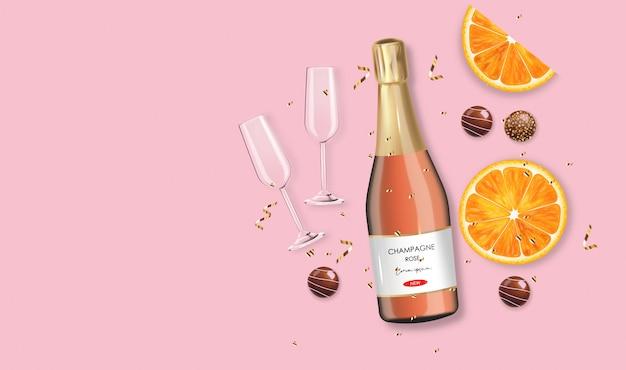 現実的なチョコレート、ローズシャンパン、金の紙吹雪、オレンジのバレンタインデー、パーティー、ピンクの背景、愛の概念、ロマンチックな