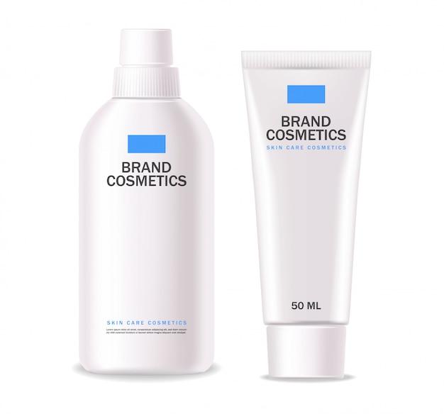 現実的な化粧品、白いボトル、パッケージのスキンケア製品、治療、孤立したコンテナー