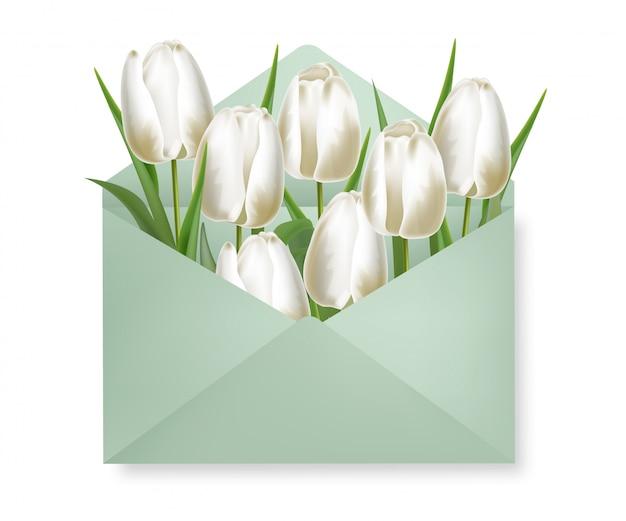 Реалистичные тюльпаны и иллюстрация конверта