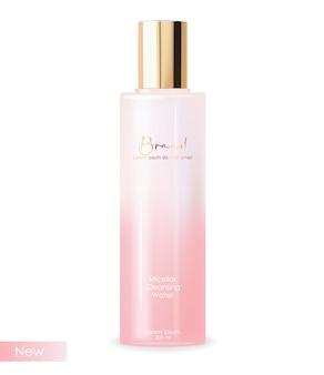 リアルな化粧品スキンケア、ミセルクレンジング水、ピンクのボトル包装