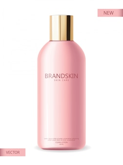 現実的な化粧品、ピンクのボトル、包装、スキンケア化粧品、クリーンローション、美容カード、顔の治療、分離容器