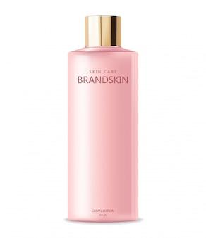 リアルな化粧品、ピンクのボトル、包装