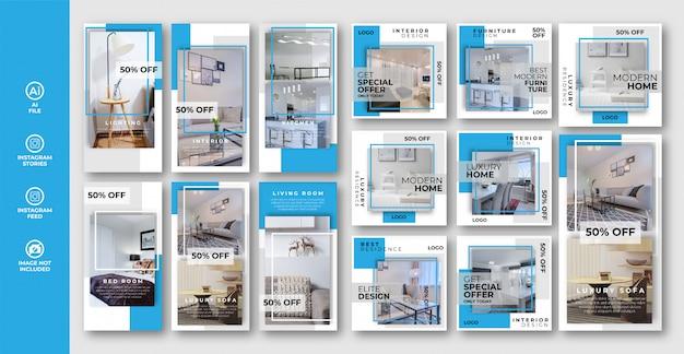 家具のインスタグラムストーリーとポストバナーセットのコレクション