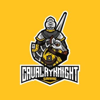 Шаблон логотипа кавалерийского рыцаря эспорта