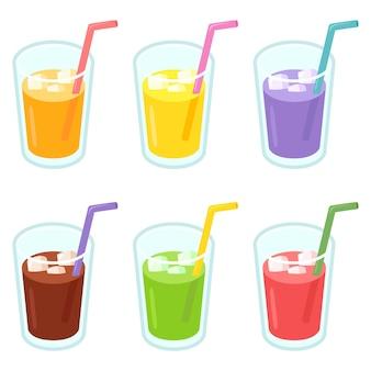 カラフルなジュースグラスイラスト