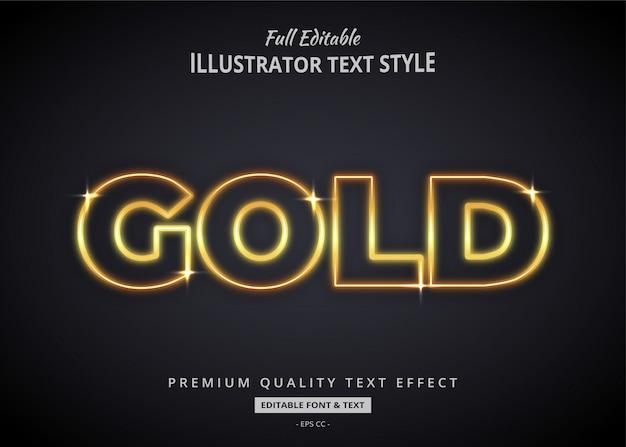 Светящийся золотой текст стиль эффект премиум