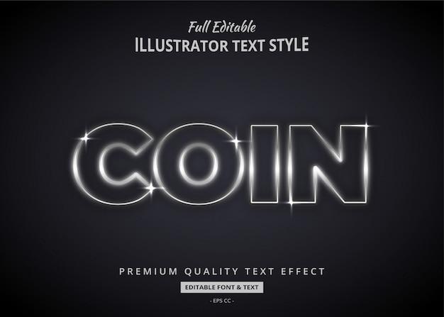 Светящийся серебряный текст стиль эффект премиум