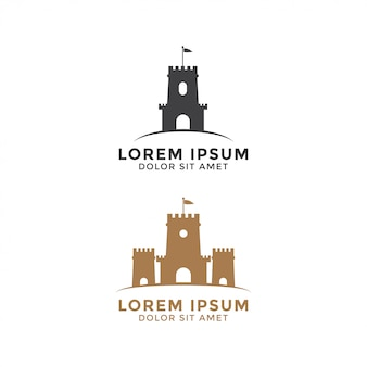 城ロゴデザインテンプレートベクトル要素