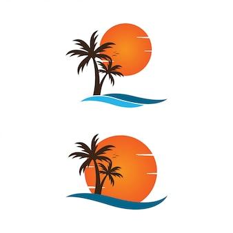 Пальма на шаблоне графического дизайна логотипа на пляже