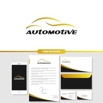 ステーショナリーモックアップによる自動車の自動車ロゴブランディング