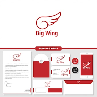 分離された翼のグラフィックアイコンデザインテンプレート