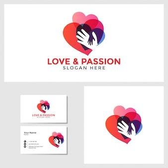名刺デザインモックアップと愛の情熱のロゴのテンプレート